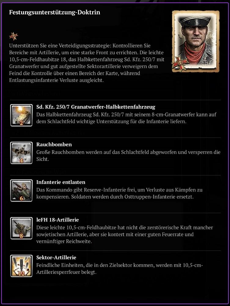 COH2 - Wehrmacht - Festungsunterstützung Doktrin
